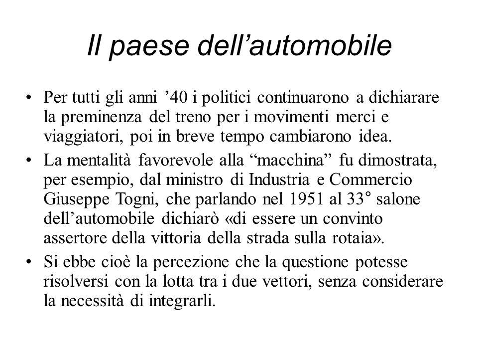 Il paese dellautomobile Per tutti gli anni 40 i politici continuarono a dichiarare la preminenza del treno per i movimenti merci e viaggiatori, poi in