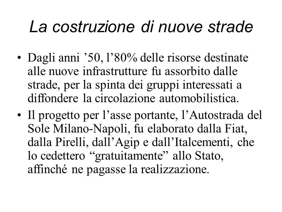 La costruzione di nuove strade Dagli anni 50, l80% delle risorse destinate alle nuove infrastrutture fu assorbito dalle strade, per la spinta dei grup