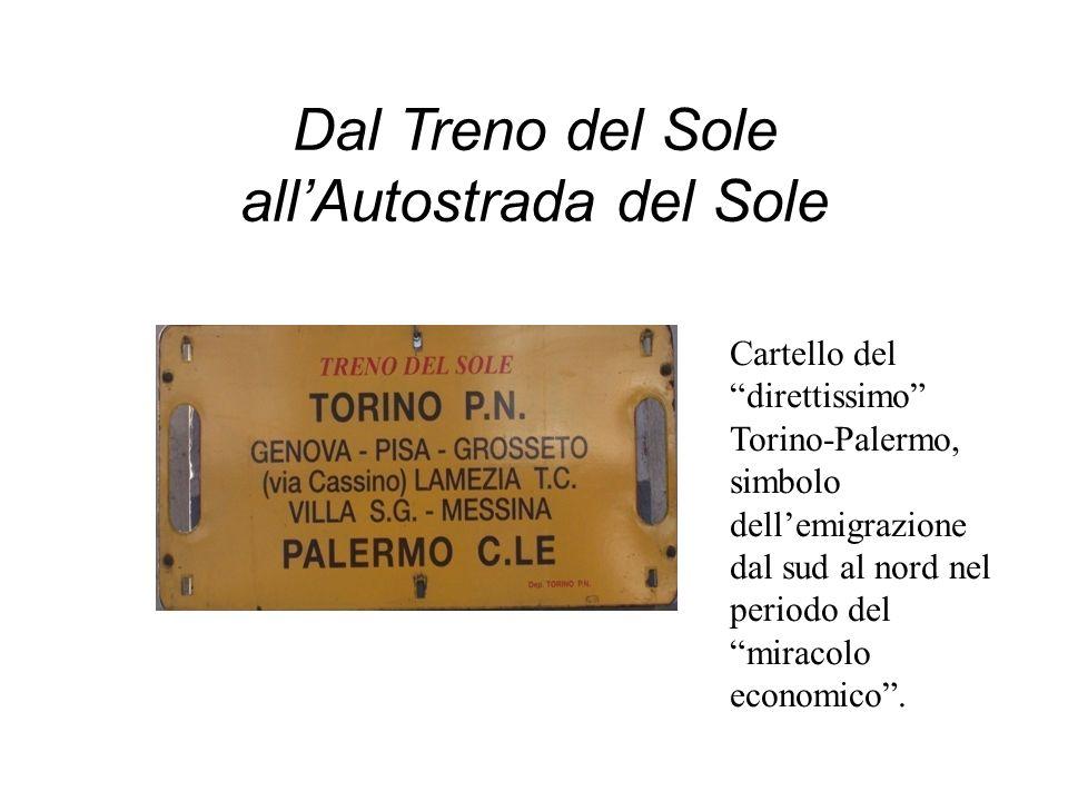 Dal Treno del Sole allAutostrada del Sole Cartello del direttissimo Torino-Palermo, simbolo dellemigrazione dal sud al nord nel periodo del miracolo e