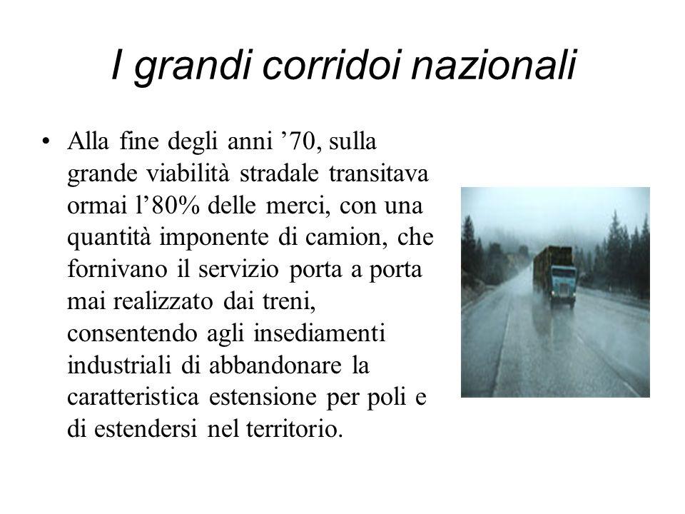 I grandi corridoi nazionali Alla fine degli anni 70, sulla grande viabilità stradale transitava ormai l80% delle merci, con una quantità imponente di
