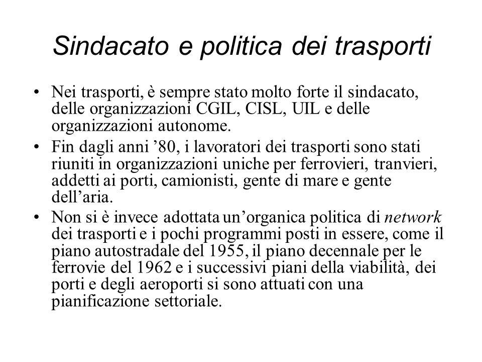 Sindacato e politica dei trasporti Nei trasporti, è sempre stato molto forte il sindacato, delle organizzazioni CGIL, CISL, UIL e delle organizzazioni