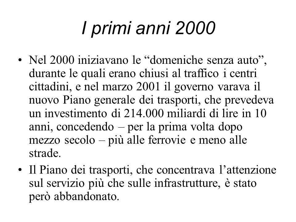 I primi anni 2000 Nel 2000 iniziavano le domeniche senza auto, durante le quali erano chiusi al traffico i centri cittadini, e nel marzo 2001 il gover