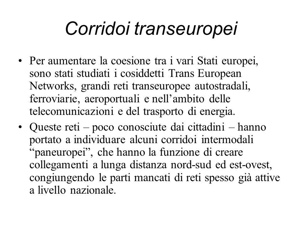 Corridoi transeuropei Per aumentare la coesione tra i vari Stati europei, sono stati studiati i cosiddetti Trans European Networks, grandi reti transe