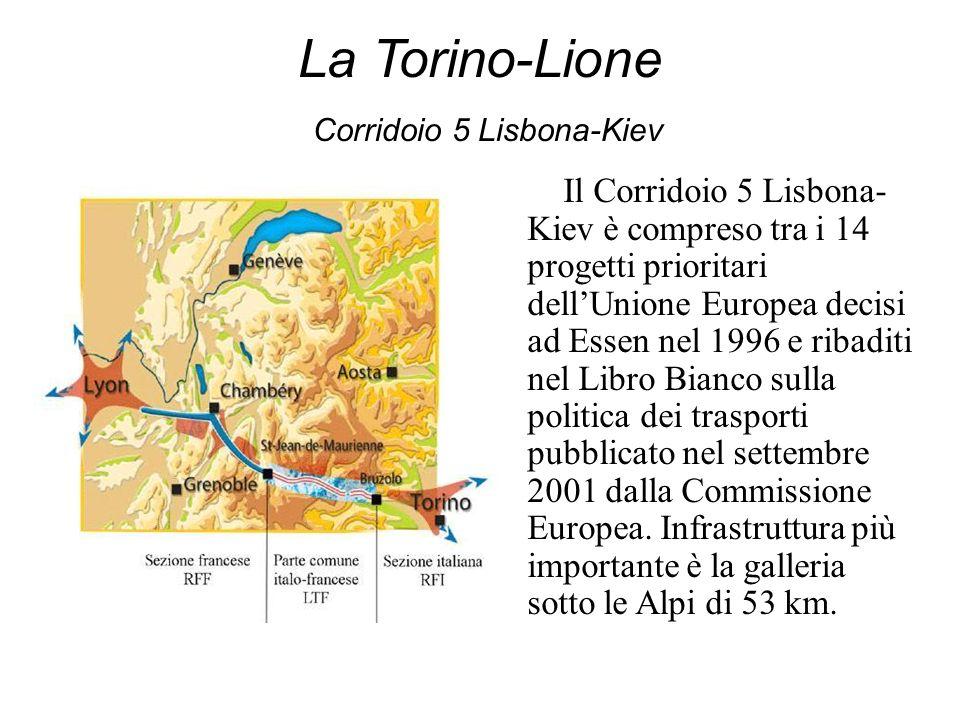 La Torino-Lione Corridoio 5 Lisbona-Kiev Il Corridoio 5 Lisbona- Kiev è compreso tra i 14 progetti prioritari dellUnione Europea decisi ad Essen nel 1