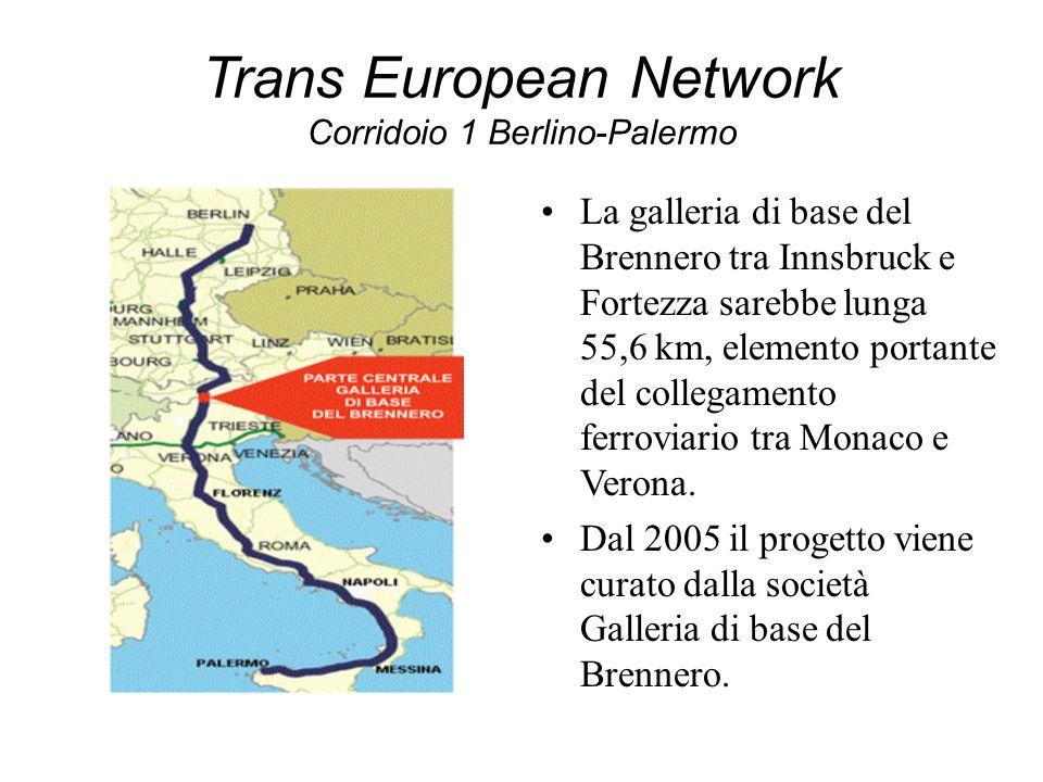 Trans European Network Corridoio 1 Berlino-Palermo La galleria di base del Brennero tra Innsbruck e Fortezza sarebbe lunga 55,6 km, elemento portante