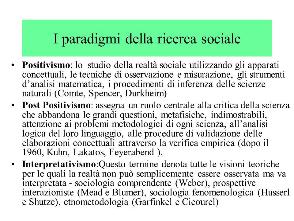 I paradigmi della ricerca sociale Positivismo: lo studio della realtà sociale utilizzando gli apparati concettuali, le tecniche di osservazione e misu