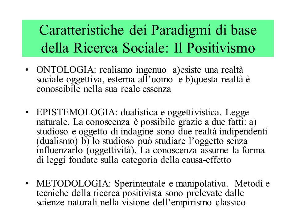 Caratteristiche dei Paradigmi di base della Ricerca Sociale: Il Positivismo ONTOLOGIA: realismo ingenuo a)esiste una realtà sociale oggettiva, esterna