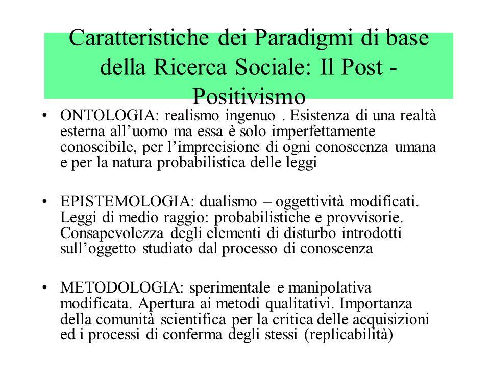 Caratteristiche dei Paradigmi di base della Ricerca Sociale: Il Post - Positivismo ONTOLOGIA: realismo ingenuo. Esistenza di una realtà esterna alluom