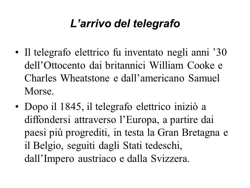 Larrivo del telegrafo Il telegrafo elettrico fu inventato negli anni 30 dellOttocento dai britannici William Cooke e Charles Wheatstone e dallamerican