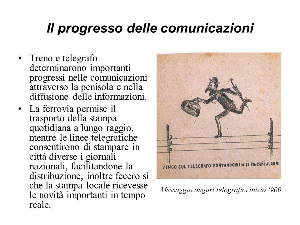 Il progresso delle comunicazioni Treno e telegrafo determinarono importanti progressi nelle comunicazioni attraverso la penisola e nella diffusione de