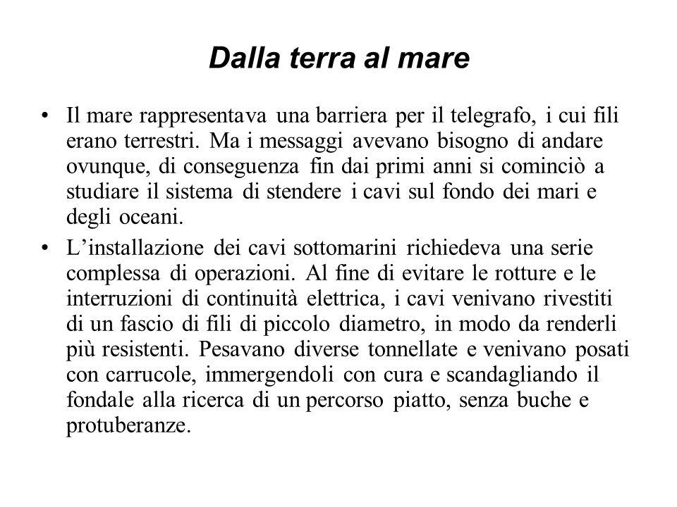 I cavi sottomarini in Italia Nel 1854 fu iniziata dal Piemonte la sfida tecnica dei cavi sottomarini, che collegarono la Sardegna con la Corsica e questa con la terraferma presso La Spezia.