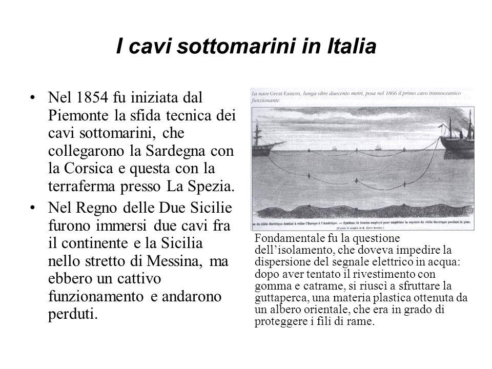I cavi sottomarini in Italia Nel 1854 fu iniziata dal Piemonte la sfida tecnica dei cavi sottomarini, che collegarono la Sardegna con la Corsica e que