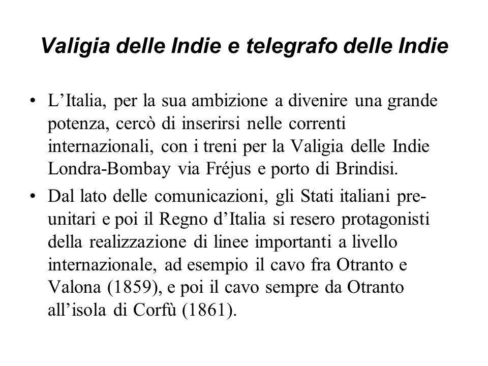 Valigia delle Indie e telegrafo delle Indie LItalia, per la sua ambizione a divenire una grande potenza, cercò di inserirsi nelle correnti internazion