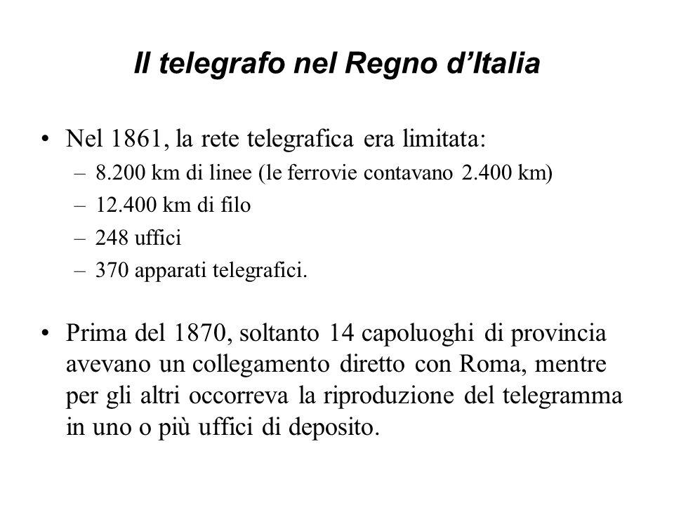 Il telegrafo nel Regno dItalia Nel 1861, la rete telegrafica era limitata: –8.200 km di linee (le ferrovie contavano 2.400 km) –12.400 km di filo –248