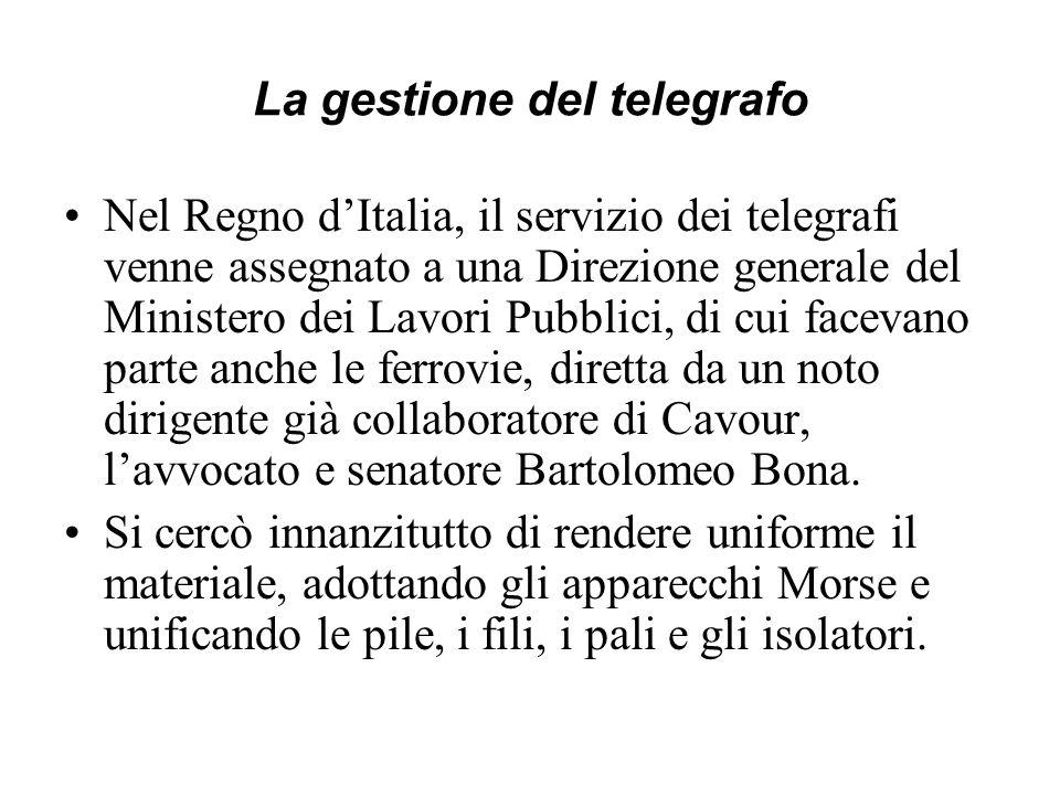La gestione del telegrafo Nel Regno dItalia, il servizio dei telegrafi venne assegnato a una Direzione generale del Ministero dei Lavori Pubblici, di
