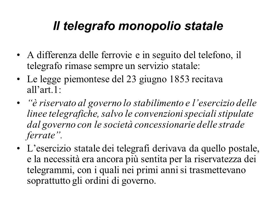 Il telegrafo monopolio statale A differenza delle ferrovie e in seguito del telefono, il telegrafo rimase sempre un servizio statale: Le legge piemont