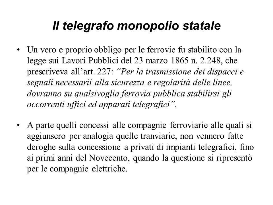 Il telegrafo monopolio statale Un vero e proprio obbligo per le ferrovie fu stabilito con la legge sui Lavori Pubblici del 23 marzo 1865 n. 2.248, che