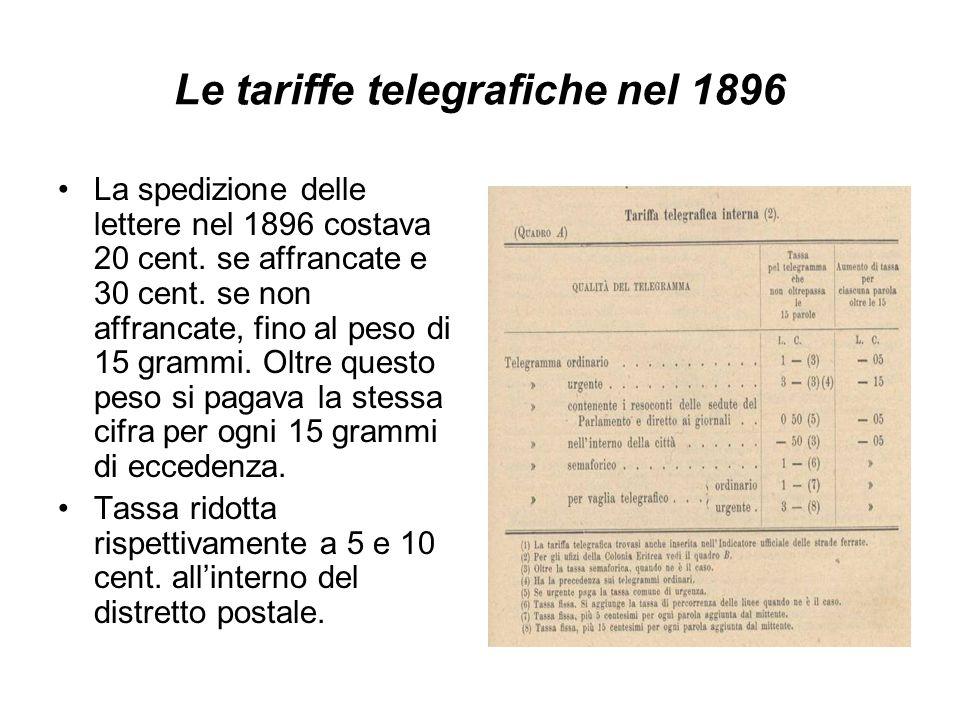 Le tariffe telegrafiche nel 1896 La spedizione delle lettere nel 1896 costava 20 cent. se affrancate e 30 cent. se non affrancate, fino al peso di 15