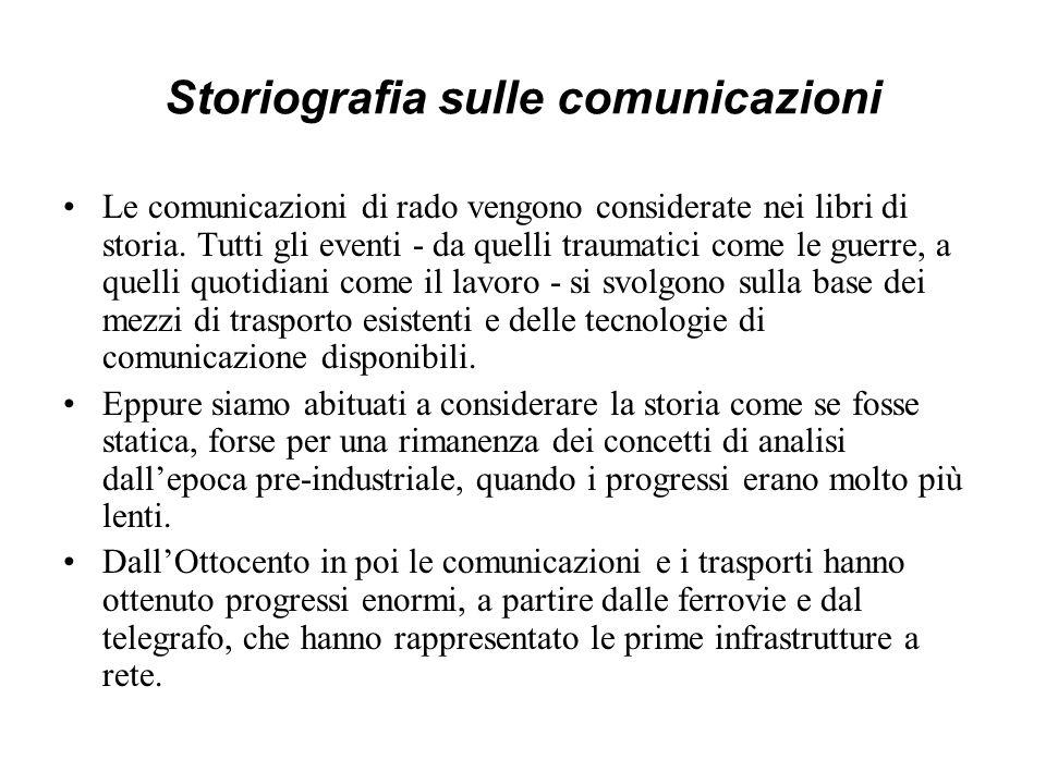 Storiografia sulle comunicazioni Le comunicazioni di rado vengono considerate nei libri di storia. Tutti gli eventi - da quelli traumatici come le gue