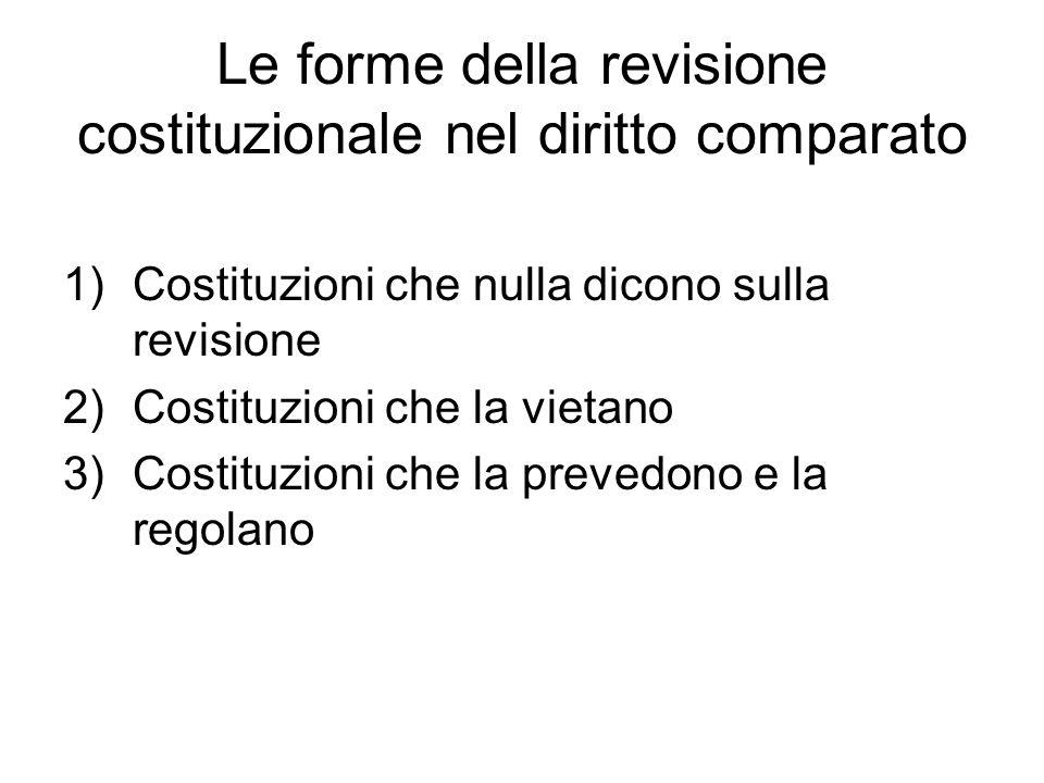 Le forme della revisione costituzionale nel diritto comparato 1)Costituzioni che nulla dicono sulla revisione 2)Costituzioni che la vietano 3)Costituzioni che la prevedono e la regolano