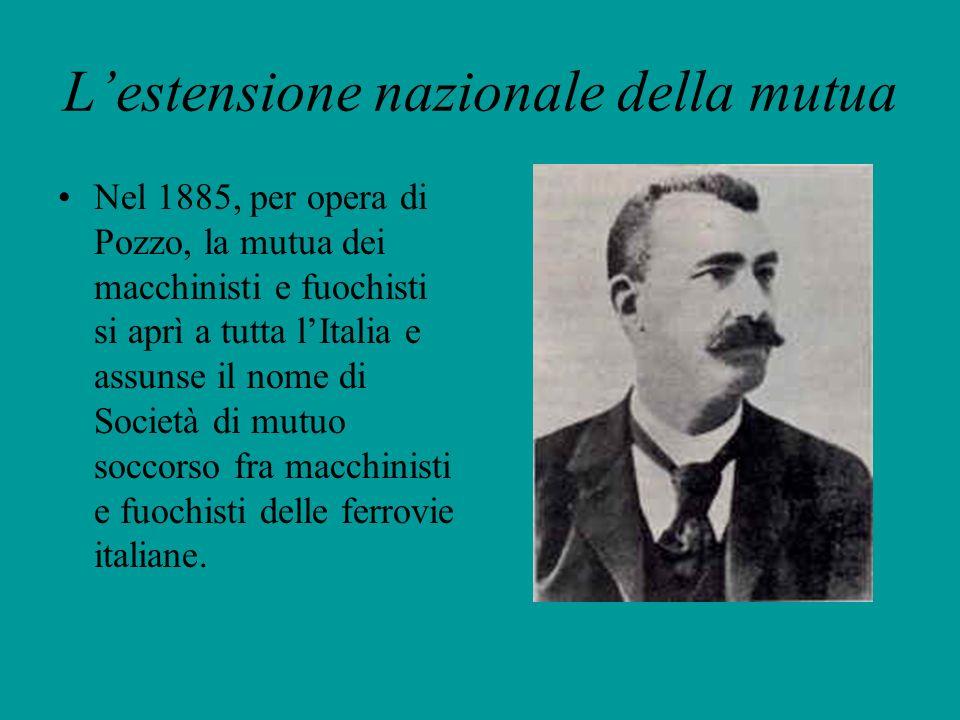 Lestensione nazionale della mutua Nel 1885, per opera di Pozzo, la mutua dei macchinisti e fuochisti si aprì a tutta lItalia e assunse il nome di Soci