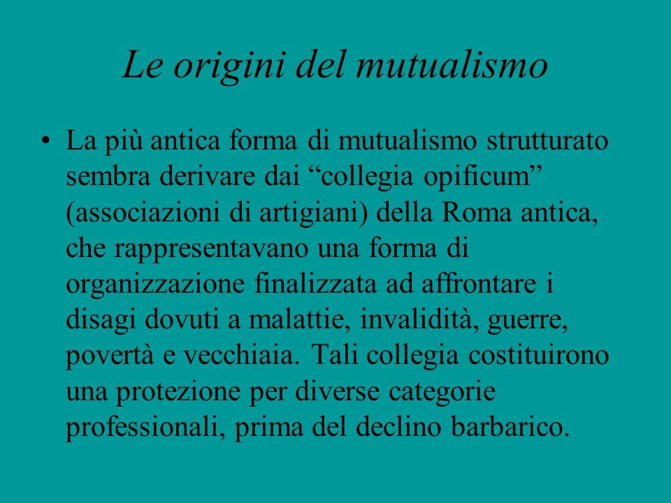 Le origini del mutualismo La più antica forma di mutualismo strutturato sembra derivare dai collegia opificum (associazioni di artigiani) della Roma a