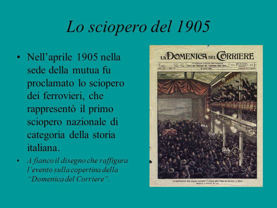 Lo sciopero del 1905 Nellaprile 1905 nella sede della mutua fu proclamato lo sciopero dei ferrovieri, che rappresentò il primo sciopero nazionale di c