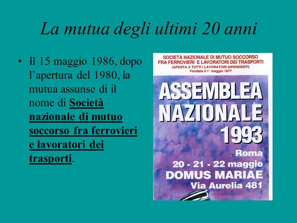 La mutua degli ultimi 20 anni Il 15 maggio 1986, dopo lapertura del 1980, la mutua assunse di il nome di Società nazionale di mutuo soccorso fra ferro