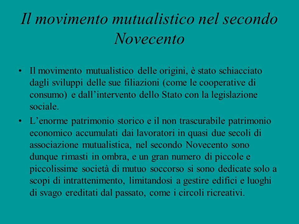 Il movimento mutualistico nel secondo Novecento Il movimento mutualistico delle origini, è stato schiacciato dagli sviluppi delle sue filiazioni (come