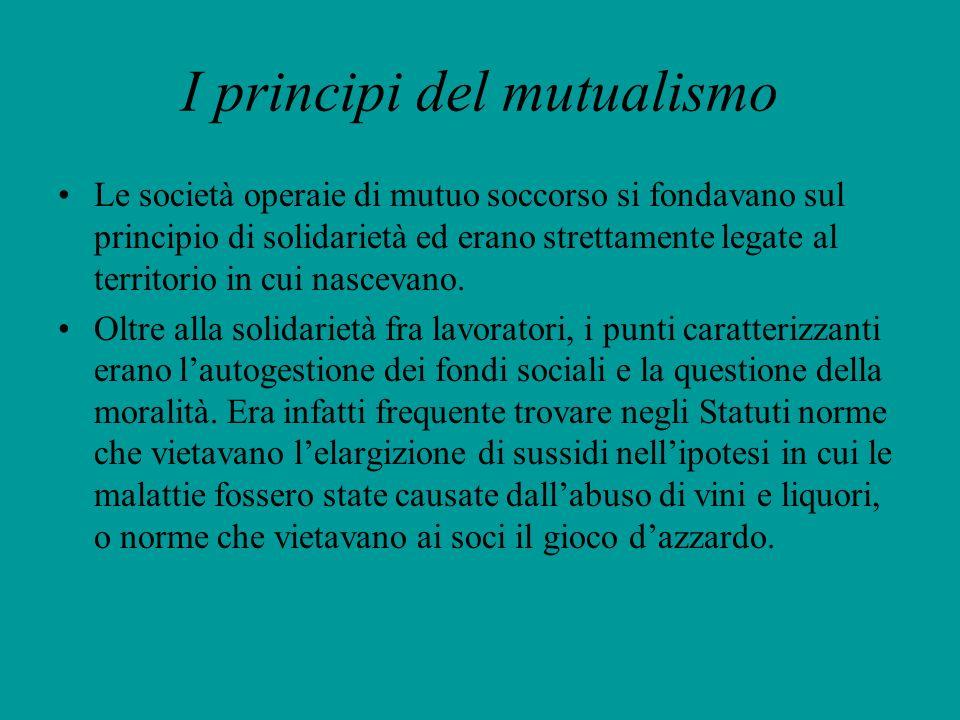 I principi del mutualismo Le società operaie di mutuo soccorso si fondavano sul principio di solidarietà ed erano strettamente legate al territorio in