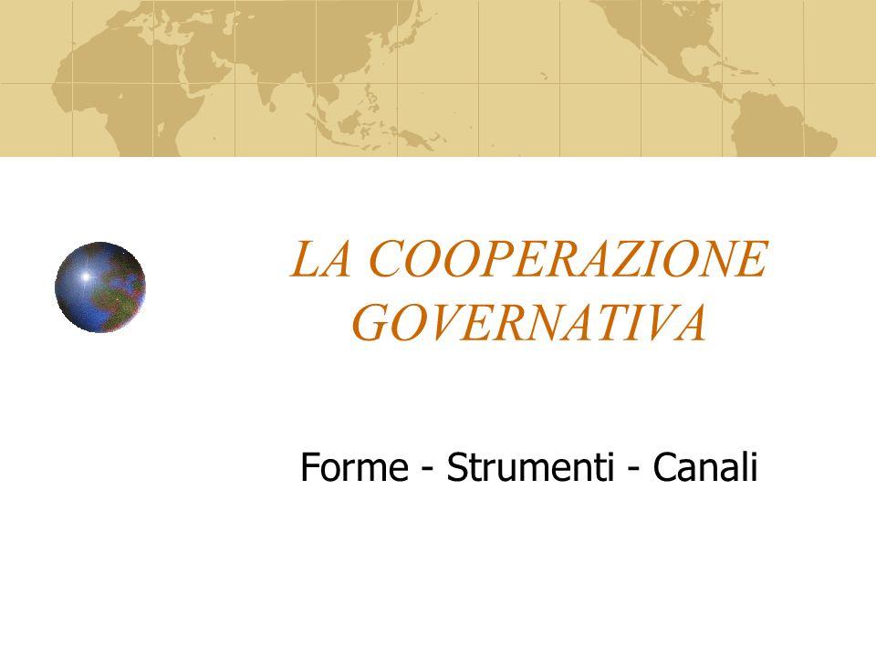 LA COOPERAZIONE GOVERNATIVA Forme - Strumenti - Canali
