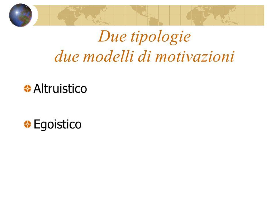 Due tipologie due modelli di motivazioni Altruistico Egoistico