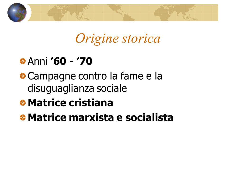 Origine storica Anni 60 - 70 Campagne contro la fame e la disuguaglianza sociale Matrice cristiana Matrice marxista e socialista