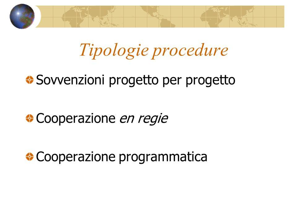Tipologie procedure Sovvenzioni progetto per progetto Cooperazione en regie Cooperazione programmatica