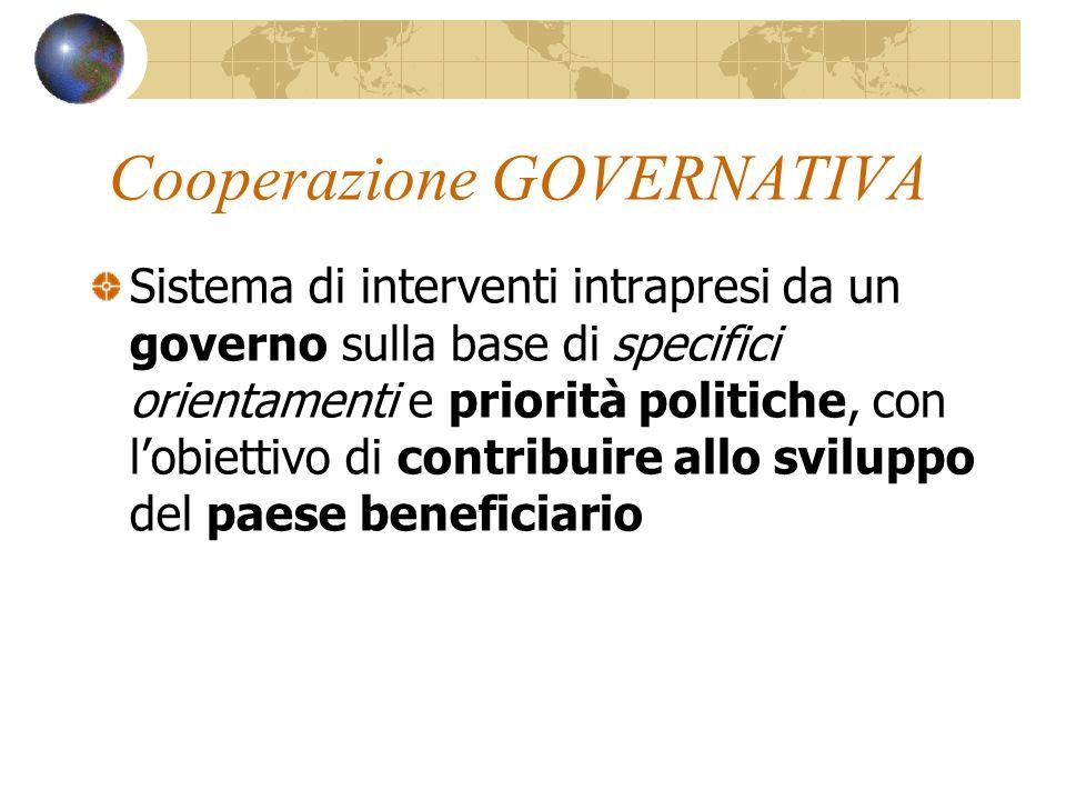 Cooperazione GOVERNATIVA Sistema di interventi intrapresi da un governo sulla base di specifici orientamenti e priorità politiche, con lobiettivo di contribuire allo sviluppo del paese beneficiario
