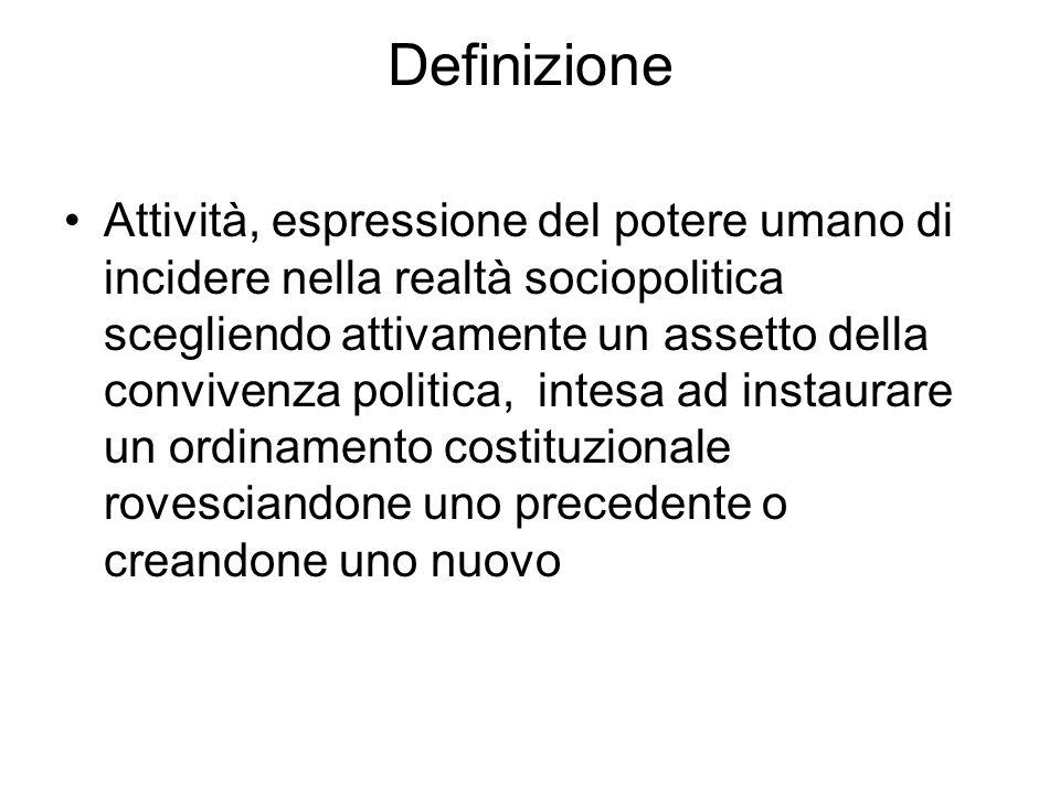 Definizione Attività, espressione del potere umano di incidere nella realtà sociopolitica scegliendo attivamente un assetto della convivenza politica,