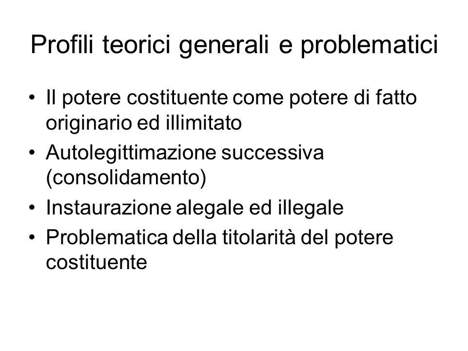 Profili teorici generali e problematici Il potere costituente come potere di fatto originario ed illimitato Autolegittimazione successiva (consolidame