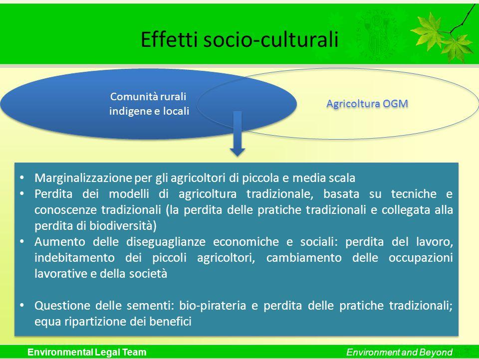 Environmental Legal TeamEnvironment and Beyond Effetti socio-culturali Comunità rurali indigene e locali Comunità rurali indigene e locali Agricoltura