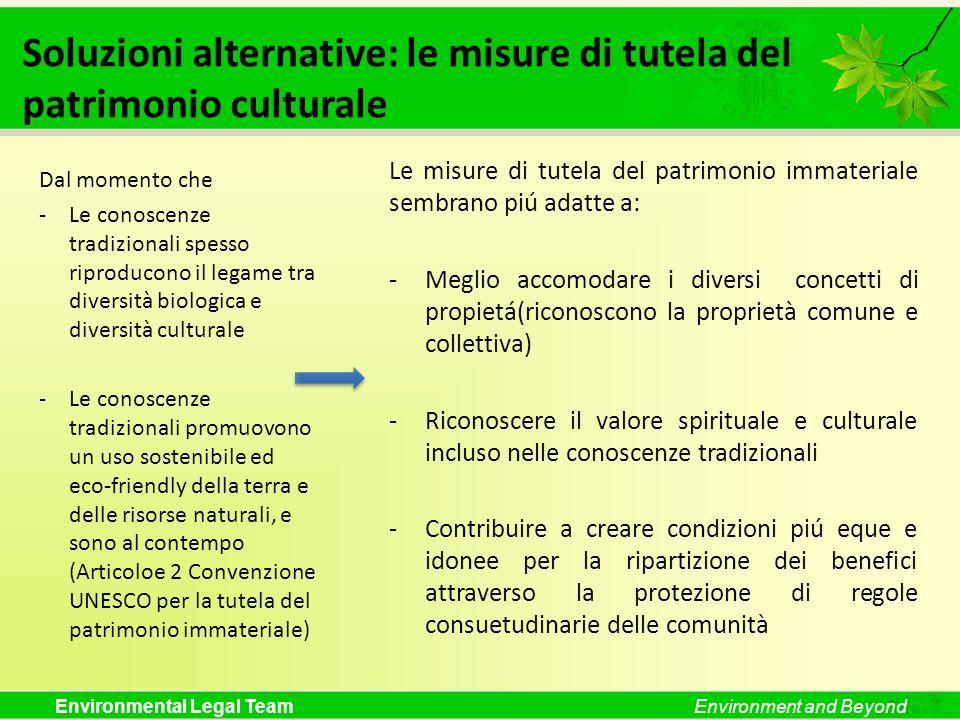 Environmental Legal TeamEnvironment and Beyond Soluzioni alternative: le misure di tutela del patrimonio culturale Le misure di tutela del patrimonio
