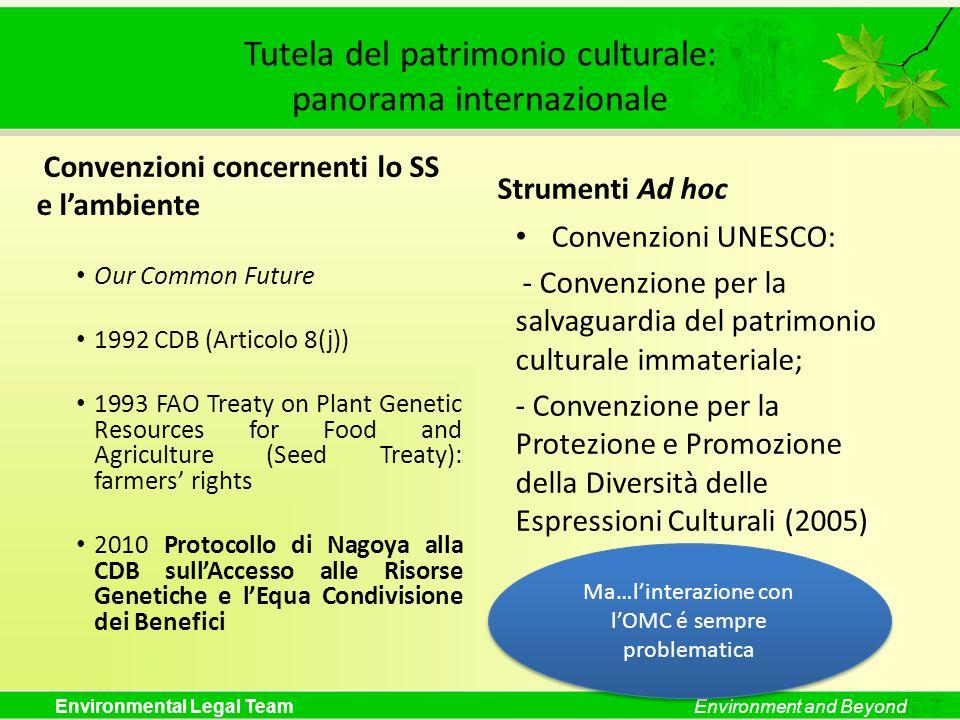 Environmental Legal TeamEnvironment and Beyond Tutela del patrimonio culturale: panorama internazionale Convenzioni concernenti lo SS e lambiente Our