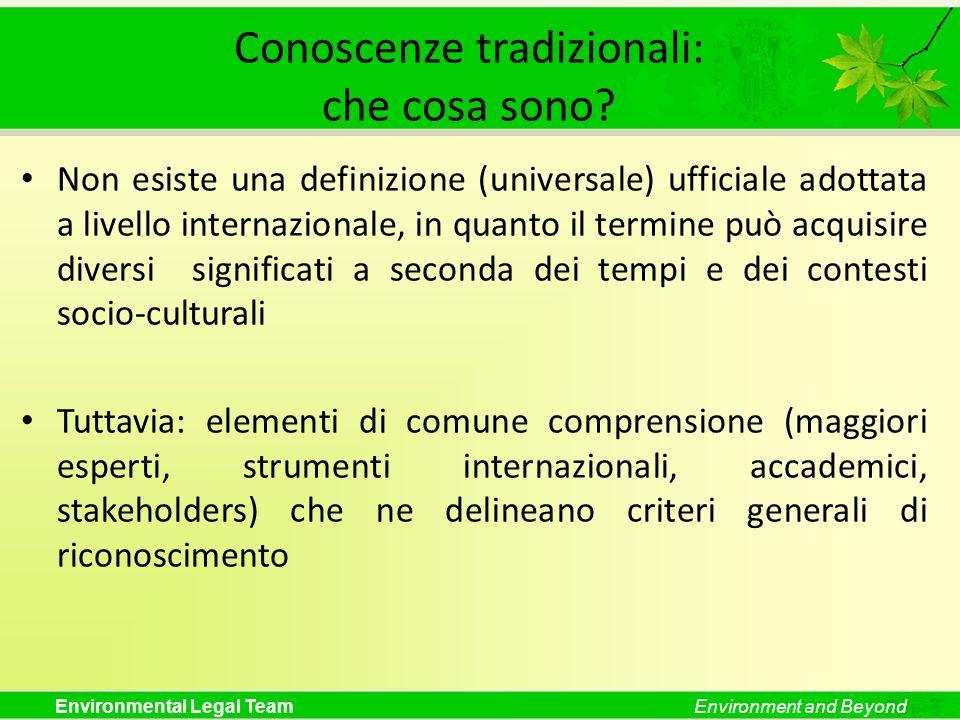 Environmental Legal TeamEnvironment and Beyond Conoscenze tradizionali: che cosa sono? Non esiste una definizione (universale) ufficiale adottata a li