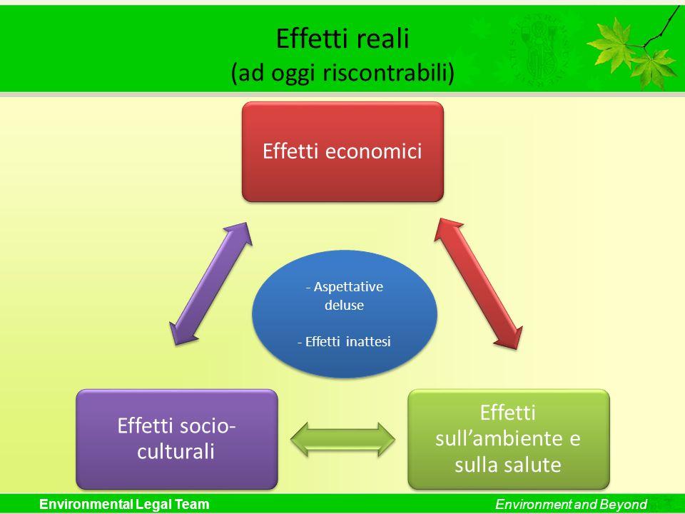 Environmental Legal TeamEnvironment and Beyond Effetti reali (ad oggi riscontrabili) Effetti economici Effetti sullambiente e sulla salute Effetti soc