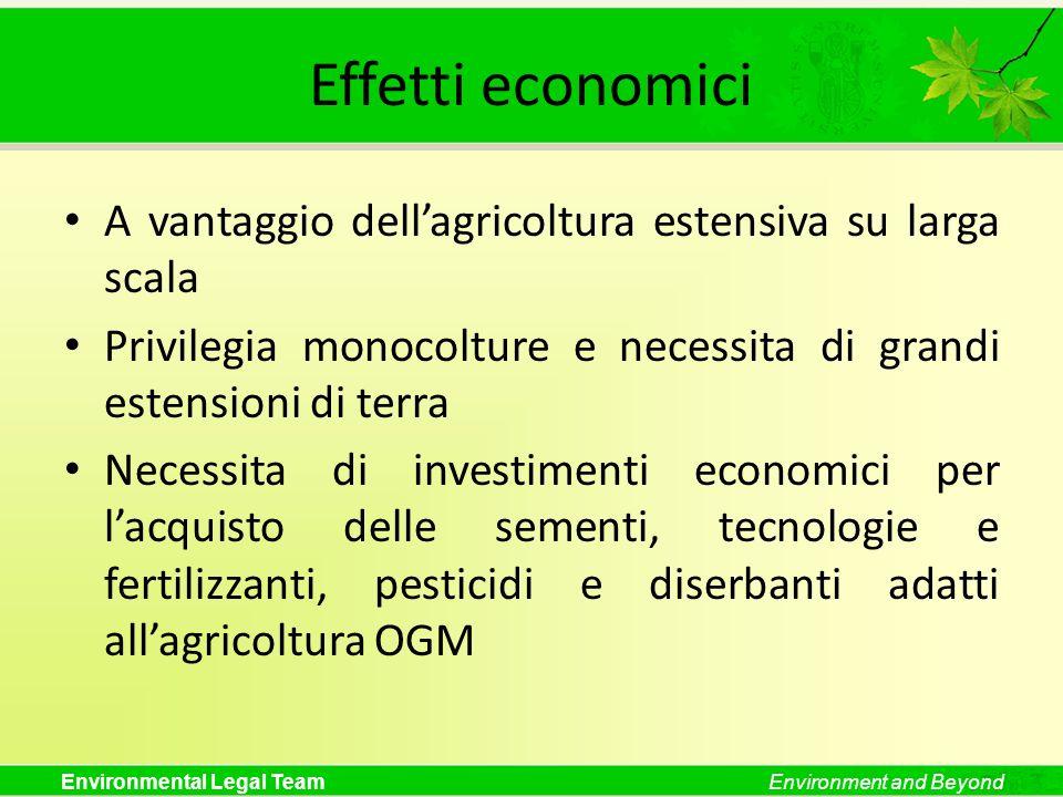 Environmental Legal TeamEnvironment and Beyond Effetti economici A vantaggio dellagricoltura estensiva su larga scala Privilegia monocolture e necessi