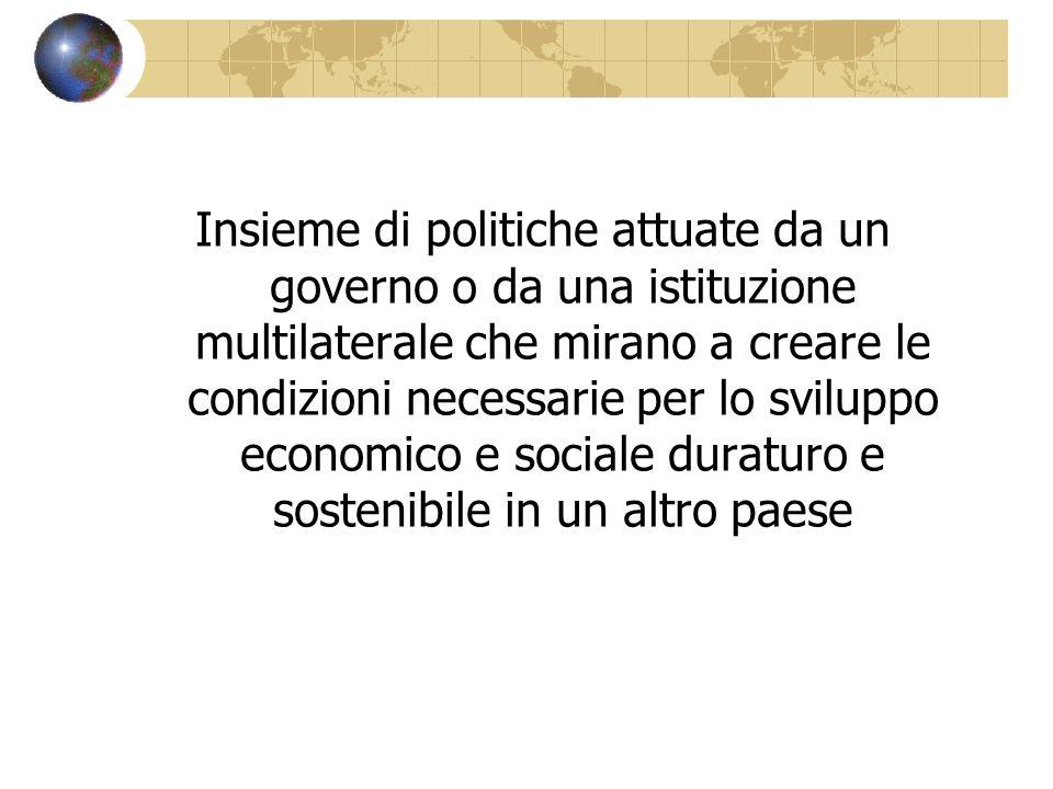 Insieme di politiche attuate da un governo o da una istituzione multilaterale che mirano a creare le condizioni necessarie per lo sviluppo economico e