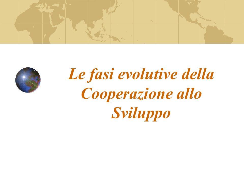 Le fasi evolutive della Cooperazione allo Sviluppo
