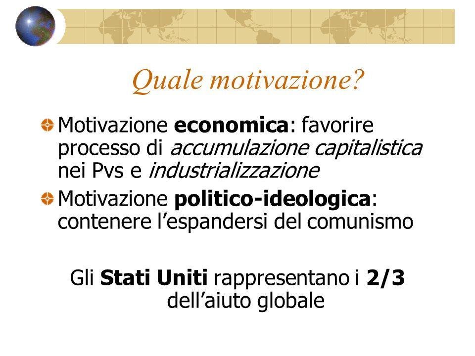 Quale motivazione? Motivazione economica: favorire processo di accumulazione capitalistica nei Pvs e industrializzazione Motivazione politico-ideologi