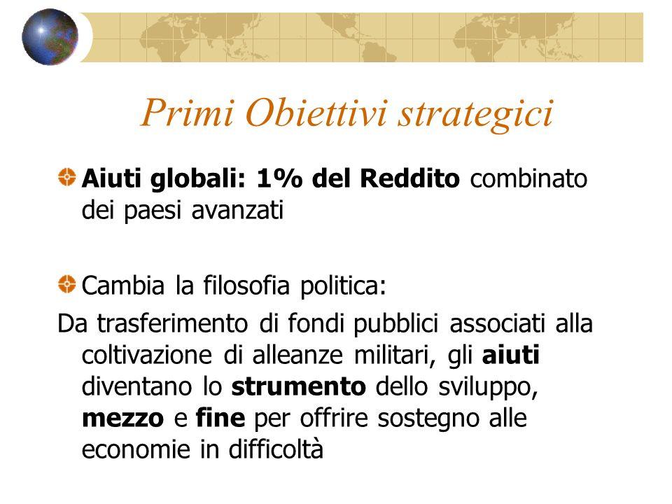 Primi Obiettivi strategici Aiuti globali: 1% del Reddito combinato dei paesi avanzati Cambia la filosofia politica: Da trasferimento di fondi pubblici