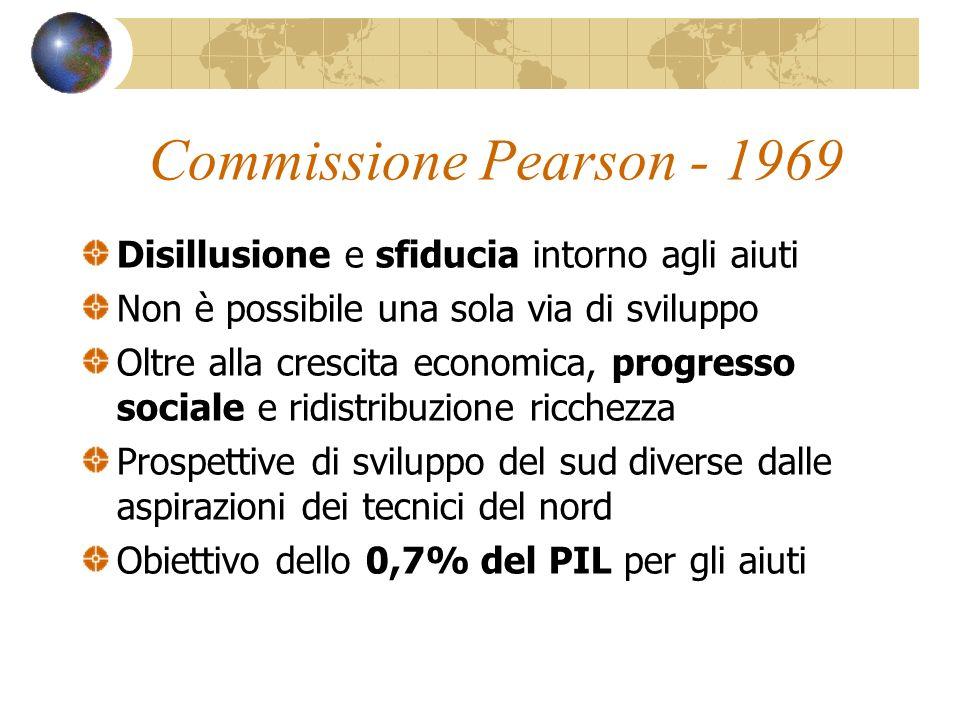Commissione Pearson - 1969 Disillusione e sfiducia intorno agli aiuti Non è possibile una sola via di sviluppo Oltre alla crescita economica, progress