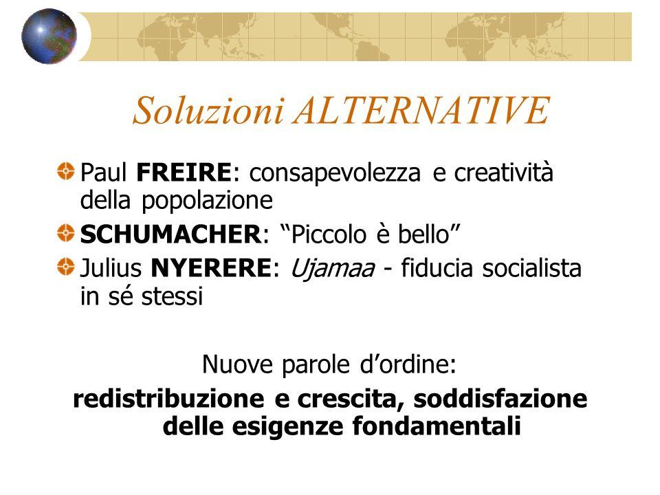 Soluzioni ALTERNATIVE Paul FREIRE: consapevolezza e creatività della popolazione SCHUMACHER: Piccolo è bello Julius NYERERE: Ujamaa - fiducia socialis