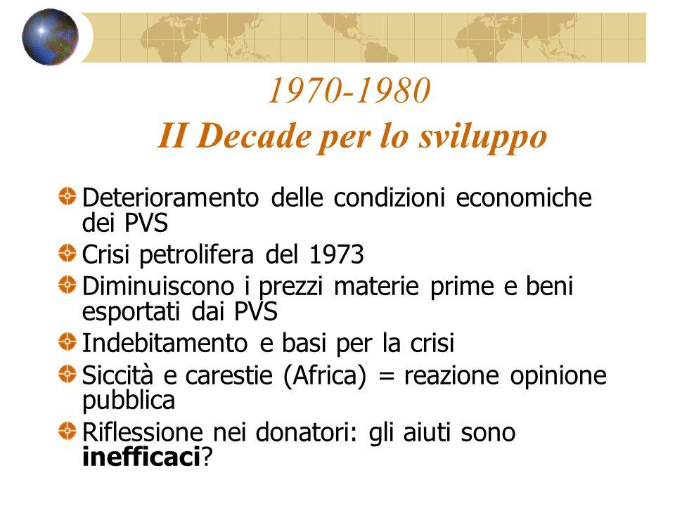 1970-1980 II Decade per lo sviluppo Deterioramento delle condizioni economiche dei PVS Crisi petrolifera del 1973 Diminuiscono i prezzi materie prime
